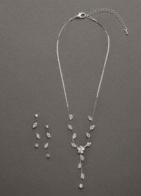 """A great combination, this necklace and earring set has it all.   Floral scroll design is elegant and modern.  Earrings are the perfect accent to the necklace.  Available in Silver.  Imported.   Extended length. 18 + 3 """"extender"""", part of the Longer Length collection."""