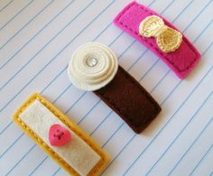 NAPOLITANO Set of 3 Felt Clips 100 Pecent Wool by ThePrettyOwl,