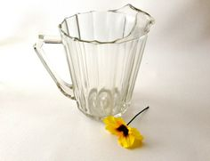 Vintage Heavy Glass Pitcher Mid-Century Pitcher by 2Fun4Words