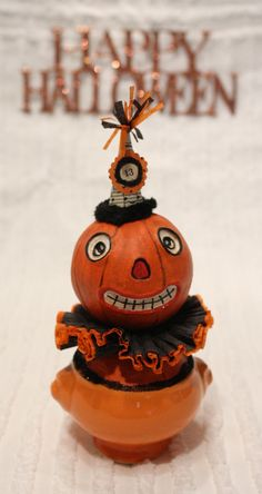 Halloween Pumpkin Vintage Style Prim Folk Art Doll by EelmonkeyArt
