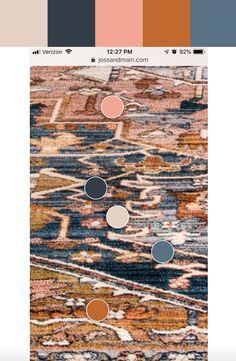 Color pallet for Artemas Power Loomed Rust Area Rug Living Room Color Schemes, Colour Schemes, Decorating Color Schemes, Color Combinations, Interior Decorating, Pantone, Navy Kitchen, Kitchen Colors, Blue Colour Palette