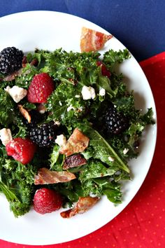 Berry and Bacon Kale Salad with Blackberry Jam Vinaigrette. go light on the cheese and sub turkey bacon for pork bacon.