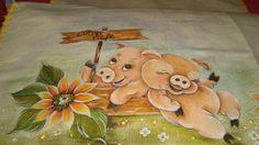 Pintura em tecido/pano de copa - Porquinhos felizes! | Flickr – Compartilhamento de fotos!