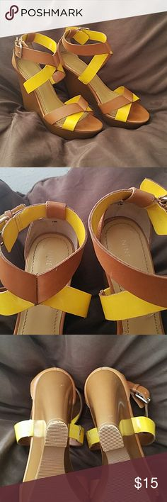 Nine West Wedge Sandals Cognac & Yellow leather strappy wedge sandals. EUC. Nine West Shoes Wedges