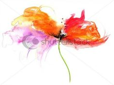 floral watercolor illustration of fantasy flower in beautiful colors