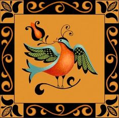folk-art-bird-ochre