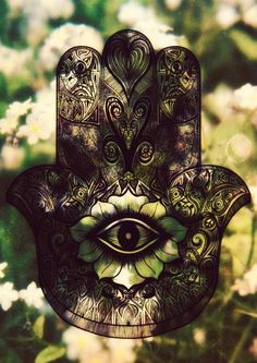"""i have a blue one of these on my front door.. a """"Hamsa Hand"""" for protection...i want this tattooed on the back of my neck"""