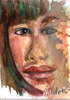 ACEO Face Melting Loose sketch Watercolor Painting Original SFA Penny StewArt #IllustrationArt
