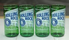 Recycled Rolling Rock Beer Bottle Glasses: ....I'd love to try my hand at this...