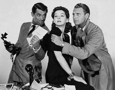 """Promotional picture for the film """"His Girl Friday"""" with Cary Grant, Rosalind Russell, and Ralph Bellamy. One of my favorite movies of all time! Rosalind Russell, Cary Grant, Classic Hollywood, Old Hollywood, Hollywood Glamour, Hollywood Stars, I Movie, Movie Stars, Picture Movie"""