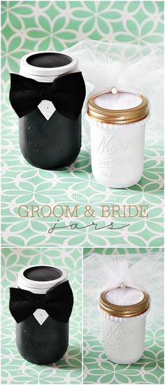 Mason Jar Crafts- DIY Groom and Bride Jars at the36thavenue.com Cutest wedding gift ever!