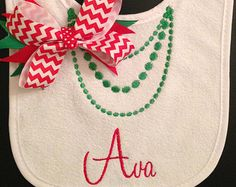 Cute Christmas Bib with Green Pearl Necklace and Red Chevron Bow, Baby Girl, Gift, Personalized, Embroidered