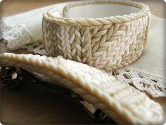 Knit stitch polymer clay bracelet by IrenkaR on Etsy Polymer Clay Bracelet, Polymer Clay Art, Polymer Clay Projects, Polymer Clay Creations, Ceramic Jewelry, Ceramic Clay, Play Clay, Knitted Jewelry, Rope Bracelets