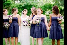 Navy dresses with purple flowers