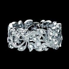 Custom Made Wide Floral Vine Diamond Band