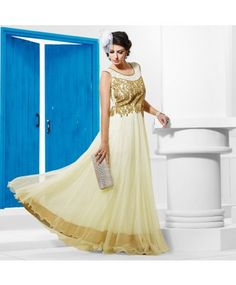 Stitched Off White Color Net Designer Gown #ohnineone