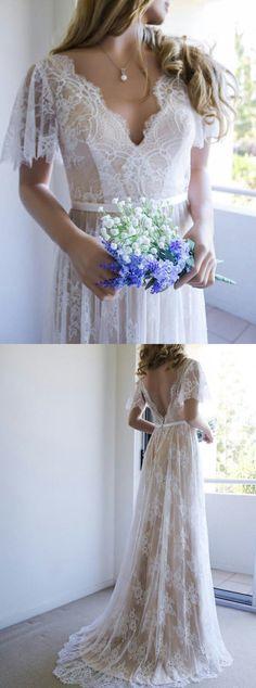 949427aea3b A-Line V-Neck Sweep Train Light Champagne Lace Boho Wedding Dress