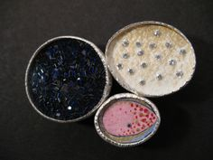 'Kailua Bay', brooch made from silver, c.z stones, watercolour, blue diamond and micro mosaic detail.