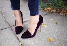 plum velvet pumps for fall