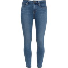 Paige Denim Brett Hoxton Mid-Rise Skinny Jeans ($270) ❤ liked on Polyvore featuring jeans, pants, bottoms, slim blue jeans, slim skinny jeans, winter boots, mid-rise jeans and light wash jeans