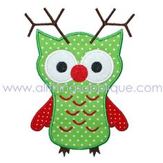 Applique Design - Reindeer Owl - Christmas.