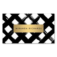 The perfect stylist's business card template! The bold, black brushstrokes create a cross-hatch pattern behind your name/business name in an eye-catching gold box. An on-trend, edgy design for stylish businesses! Great business card for interior stylists, decorators, bloggers, interior designers, boutiques, salons and more.