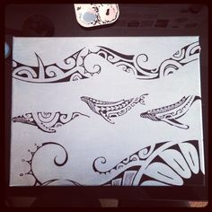 Polynesian whale painting