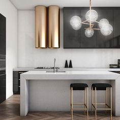 Modern Kitchen Design Modern Kitchen Lighting Ideas - The kitchen is the proud domain of every housewife and this is the place where she spends a good part of her daily life. With prices of real estate Modern Kitchen Lighting, Modern Kitchen Design, Modern House Design, Interior Design Kitchen, Modern Kitchens, Modern Bar, Modern Decor, Luxury Kitchens, Modern Kitchen Fixtures