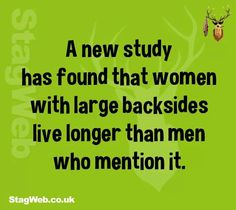 .A new study has found that women with large backsides live longer than men who mention it.