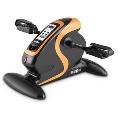 Klarfit MiniBike Appareil d'entraînement pour bras et jambes (moteur 120 kg, télécommande, 12 vitesses, ordinateur de bord) - noir & orange