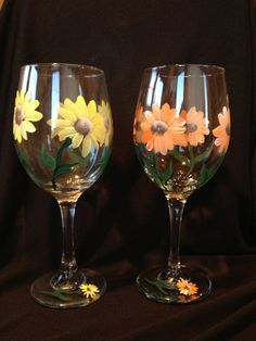 IN STOCK AND READY TO SHIP FOR MOTHERS DAY Gerber Daisy Wine Glasses orange and yellow by Brusheswithaview, $30.00