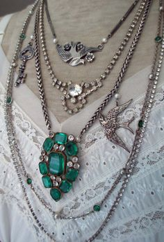 emerald flight - vintage assemblage necklace with rhinestone dress clip, bird pendants and chains by the french circus