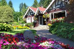 Gardens in front of Restaurant at Capilano Bridge and Park - lovely lunch on the patio here!