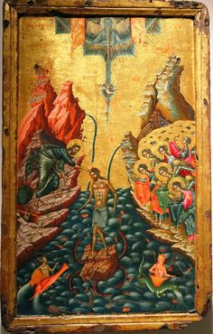"XC__ "" Η Βαφτιση του Χριστου"" ( The Baptism of Jesus Christ in the Jordan river. circa Onoufrios of Neokastro (Onufri). Byzantine Icons, Byzantine Art, Religious Icons, Religious Art, Baptism Of Christ, Spiritual Images, Christian Artwork, Saint Esprit, Life Of Christ"