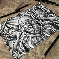 No photo description available. Chicano Tattoos Sleeve, Chicano Style Tattoo, Body Art Tattoos, Tatoos, Arte Cholo, Cholo Art, Chicano Drawings, Dark Art Drawings, Skull Couple Tattoo