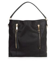 Black Double Zip Front Shoulder Bag