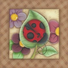 Just me lady bug Arte Country, Pintura Country, Country Crafts, Tole Painting, Fabric Painting, Painted Books, Hand Painted, Decoupage, Clip Art