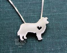 Border Collie necklace, tiny sterling silver hand cut pendant with heart, tiny dog breed jewelry