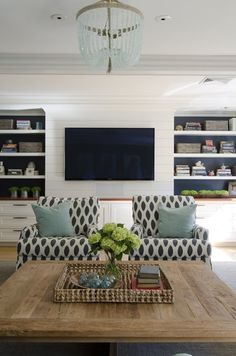 """Rule of Three.  //  //  Designers follow the """"rule of three"""" principle - that an odd number of things counters the symmetry of an even number of things and feels more balanced and beautiful. Here, the tv acts as a third black focal point and subtly breaks up the symmetry of the painted built-ins."""