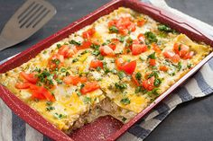 No red sauce required for this tasty chicken lasagna! A combination of cream cheese, ricotta and green salsa gives it its creaminess and hue.