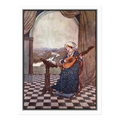 Shop The Ringing Lute by Edmund Dulac Postcard created by vintage_illustration. Edmund Dulac, Sinbad The Sailor, Chestnut Horse, Hans Christian, Christian Quotes, Snow Queen, New York Public Library, Custom Posters, The Little Mermaid