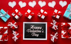 Download wallpapers Happy Valentines Day, gift boxes, February 14, red boards, congratulations, white heart, romance