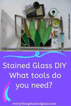 Expert guide to stained glass tools. Get tools that last. Full list of essential equipment with helpful descriptions and buying advice. How To Do Stained Glass Diy, Making Stained Glass, Faux Stained Glass, Stained Glass Designs, Stained Glass Panels, Stained Glass Projects, Stained Glass Patterns, Mosaic Patterns, Stained Glass Supplies