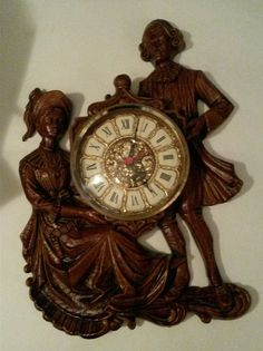 Vintage Mod Dep Wall Clock Made in Germany Colonial Faux Wood