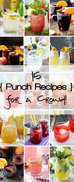 15 Punch Recipes for a Crowd! @beckygallhardin #holiday #cocktails #Christmas
