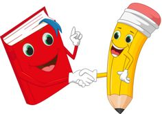 Cartoon pencil and books shake hands Illustration , School Board Decoration, School Decorations, School Themes, Classroom Board, Classroom Labels, School Cartoon, Cartoon Kids, Art Drawings For Kids, Art For Kids
