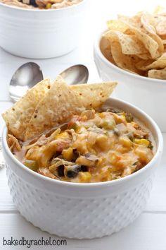 Hearty slow cooker black bean taco chili recipe from @bakedbyrachel