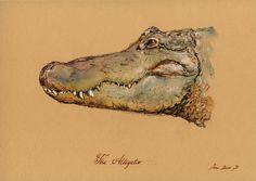 PRINT-Crocodile Alligator american head painting watercolor PRINT river africa crocodile Art Print by Juan Bosco Animal Paintings, Animal Drawings, Art Drawings, Watercolor Animals, Watercolor Print, Alligator Tattoo, Crocodile Tattoo, Realism Artists, Water Drawing