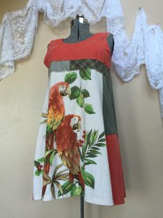 Upcycled Women's Clothing upcycled Dress Colorful Parrot