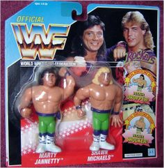 """WWF Hasbro The Rockers WWE Action Figure Set with Shawn Michaels and Marty Jannetty by Hasbro. $46.99. Tag Team 2 figure pack. Shawn Michaels with """"Rocker Shocker"""" move. Detailed and poseable.. Blue Card. Marty Jannetty with """"Rocker Dropper"""" move. The Rockers Tag Team set by Hasbro includes Shawn Michaels and Marty Jannetty figures with their trademark moves. Detailed and fully poseable wrestling figures."""